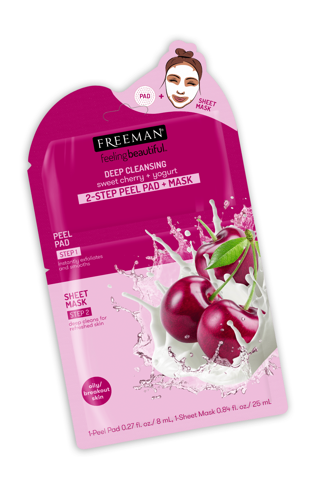 DEEP CLEANSING sweet cherry + yogurt 2-STEP PEEL PAD + MASK